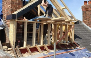 The roof for the dormer loft extension is being formed